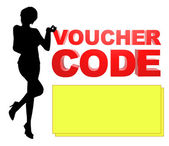 Illustratie voucher code dame — Stockfoto