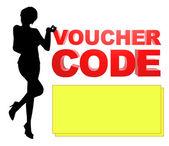 Illustration Voucher Code Lady — Stock Photo