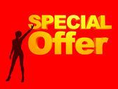 Rojo ilustración oferta especial dama — Foto de Stock