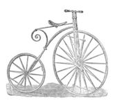 Gentleman bicycle rider In the stirrups drawing — Stock Photo