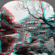 Idyllic spot Japstream garden 3D anaglyph — Stock Photo #40385681