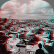 Stock Photo: Jerusalem Palestine domes above 3D anaglyph
