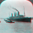 Stock Photo: Great Steamship LiviathVaterland 3D anaglyph