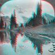 Stock Photo: Mount Ranier 3D anaglyph