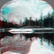 Stock Photo: Mirror lake reflection scenic 3D anaglyph