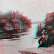 Stock Photo: Wisconsin Dells Early view steam boat 3D anaglyph