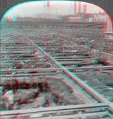 Chicago Stockyards 3D anaglyph — Stock Photo