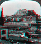 The Acropolis 3D anaglyph — Stock Photo