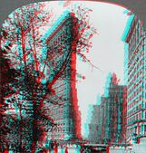 Flatiron Building New York Skyscraper 3D anaglyph — Stock Photo