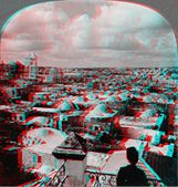 Jerusalem Palestine domes above 3D anaglyph — Stock Photo