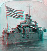 USS Oregon 3D anaglyph — Stock Photo