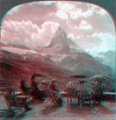 Matterhorn people in chairs viewing — Stock Photo