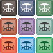 Chairs, table, icon, vector — Stock Vector #17859155