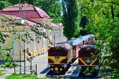 Children, cars, trains — Stock Photo