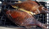 Fish on grill, cooking — Foto Stock