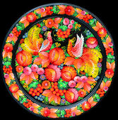 Arts, Souvenir - a plate with flowers and birds — Stock Photo