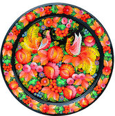 Modern art - colorfully painted souvenir plate — Stock Photo