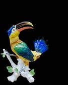 Perroquet, figurine en porcelaine, souvenirs, cadeaux, arts, fond noir — Photo