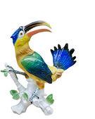 попугай, birdporcelain фигурка птицы, сувенир, подарок, искусство, изолированные — Стоковое фото