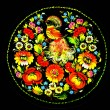 Art - colorfully painted souvenir plate. Black background — Stock Photo