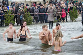 People bathe in the river in winter . Christian religious festival Epiphany — Stock fotografie