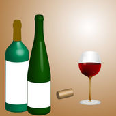 Bottels with a glass of wine. — Stock Vector