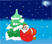 Christmas tree with Santa Claus. — Vector de stock