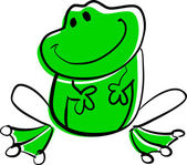 Funny green frog. — Stock Vector