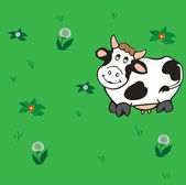 Cow on the meadow. — Stock Vector