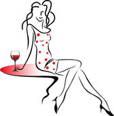 Giirl with a glass of wine. — Stock Vector