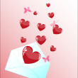 Flying hearts. - Stock Vector