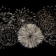 Stock Vector: Fireworks on black background.