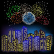 Stock Vector: Fireworks in night city.