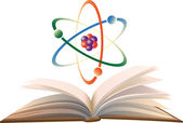 Molecule and an open book. — Stock Vector