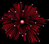 Feux d'artifice rouge. — Vecteur