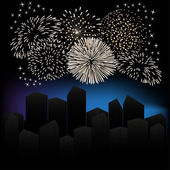 Fireworks over the city. — Stock Vector