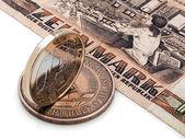 монеты гдр (гдр) и европейский союз. — Стоковое фото