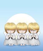 Three cute angels — Stock Vector