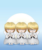 Three cute angels — Stock Vector