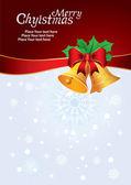 Vektor kort med christmas bells, båge och snöflingor — Stockvektor