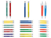Vector set of pens. Different colors. — Stock Vector
