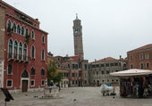 View of San Angelo square and Campanile of San Stefano church. — Stock Photo