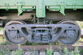 The railway wheels of soviet cargo wagon. — Stock Photo