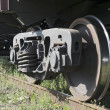 The railway wheels of old soviet cargo wagon. — Stock Photo