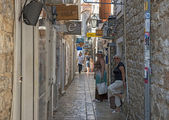 View of narrow street in old town in Budva, Montenegro. — Stock Photo