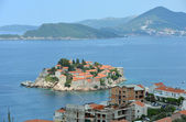 Sveti Stefan and Saint Nicholas island near Budva, Montenegro. — Stock Photo
