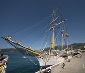 Rigging of old sail training ship Jadran in Tivat, Montenegro. — Stock Photo