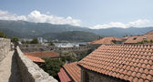 Budva bay behind the tile roofs of old town, Montenegro. — Stock Photo