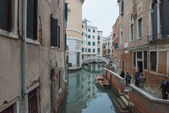 Fondamenta, Teatro and Ponte de la Fenice in Venice, Italy. — Stock Photo