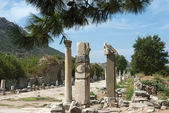 Ancient road with columns in the ruins of Ephesus, Turkey. — Stock Photo